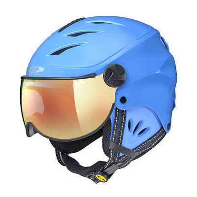 CP Kinder Skihelm met Vizier - CP Camulino blue shiny - flash gold mirror Visor cat. 3 (☀)