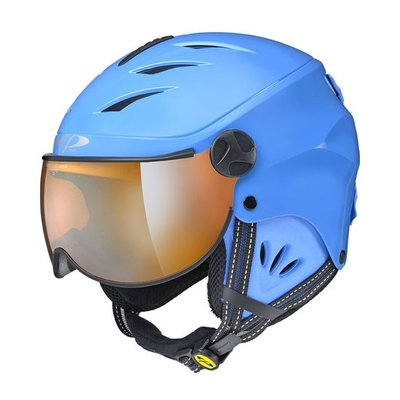 CP Kinder Skihelm met Vizier - CP Camulino blue shiny - orange Visor cat. 1 (☁/☀)