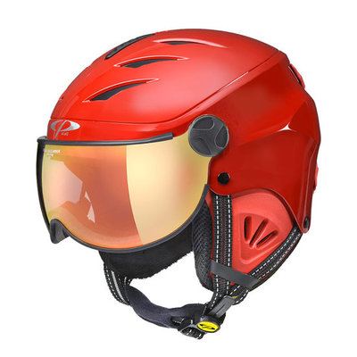 CP Kinder Skihelm met Vizier - CP Camulino shiny red - flash gold mirror Visor cat. 3 (☀)
