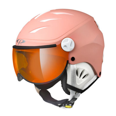 CP Kinder Skihelm met Vizier - CP Camulino quarz pink - orange silver mirror visor cat. 2 (☁/☀)
