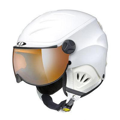 CP Kinder Skihelm met Vizier - CP Camulino white shiny - orange Visor cat. 1 (☁/☀)