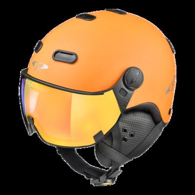 Cp Carachillo Ski- en Snowboardhelm met Spiegel Vizier (☁/❄/☀) Oranje Zwart