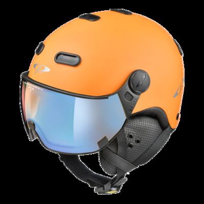Cp Carachillo Ski- en Snowboardhelm met Meekleurend, Polariserend & Spiegel Vizier (☁/❄/☀) Oranje Zwart