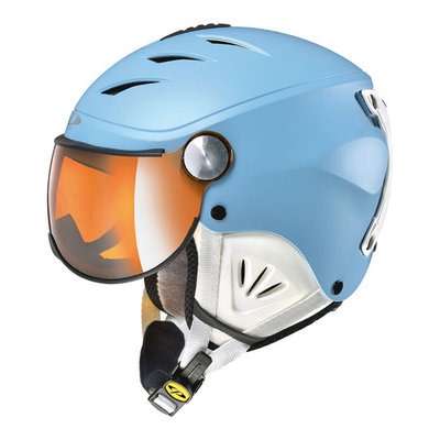 CP Kinder Skihelm met Vizier - CP Camulino blauw - flash gold mirror Visor cat. 3 (☀)