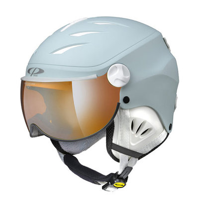 CP Kinder Skihelm met Vizier - CP Camulino light blue - orange silver mirror Visor cat. 2 (☁/☀)