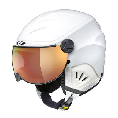CP Kinder Skihelm met Vizier - CP Camulino white shiny - flash gold mirror Visor cat. 3 (☀)