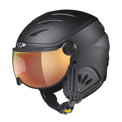CP Kinder Skihelm met Vizier - CP Camulino Black Soft Touch - flash gold mirror Visor cat. 3 (☀)