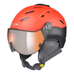 Cp Skihelm met Vizier Camurai Power Red s.t./Black s.t. Orange Silver Mirror